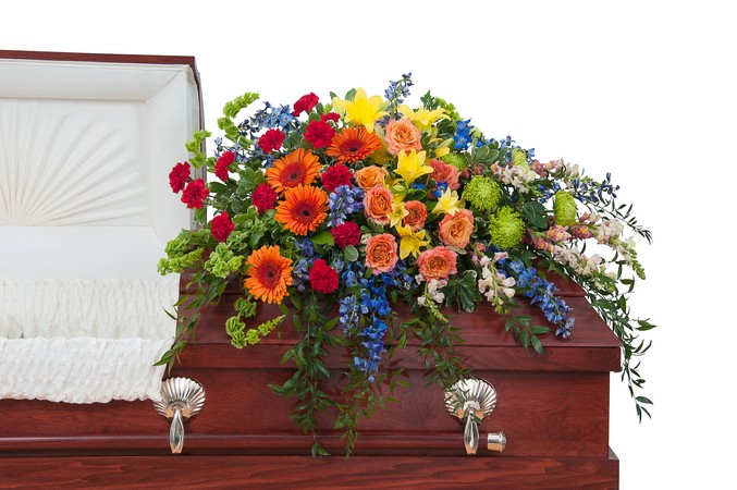 Treasured Celebration Casket Spray from Walker's Flower Shop in Huron, SD