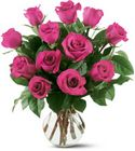 12 Hot Pink Roses from Walker's Flower Shop in Huron, SD